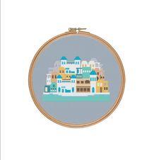 Santorini cross stitch Greece cross stitch by StitcheryStitch