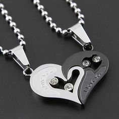 Creative birthday gift couple pendant love heart couple necklace [kz57] - $9.99 : Gofavor.us