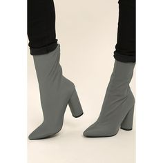 Araceli Grey Knit Mid-Calf High Heel Booties ($15) ❤ liked on Polyvore featuring shoes, boots, grey, mid-calf boots, pointed-toe boots, back zipper boots, calf length boots and grey boots