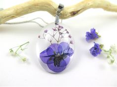 Nature jewelry, Real Flower Necklace, Pressed Flower Jewelry, Botanical Jewelry, Resin Jewelry, Flower resin necklace, purple flower by SmileWithFlower on Etsy