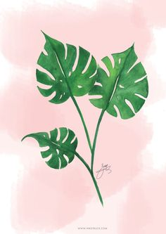 FREE WATERCOLOR TROPICAL LEAF PRINTABLE-WALL ART