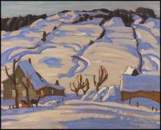 """Winter Morning,"" Alexander Young (A.) Jackson, oil on canvas, 21 x private collection. Painting Snow, Winter Painting, Winter Art, Painting Prints, Group Of Seven Paintings, Farm Paintings, Emily Carr, Canadian Painters, Canadian Artists"