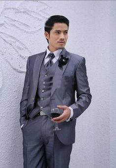 silver groom man' | Grey Silver Groom Dress Set Suit 4 Pieces(Jacket Pants Wedding Man ...