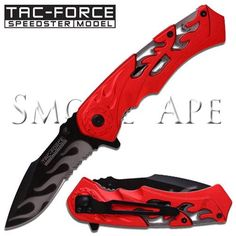 l black and red flamed choppers   Details about Tac Force Chopper Flame Spring Assisted Knife Black Red ...