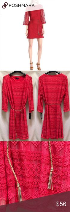 """🆕NWT Red All Over Lace Cord Belt/Tassel Dress 20W Look great and express your feminine side in this gorgeous dress! Featuring an elegant allover lace design with a belted accent, this dress will be a sleek addition to your wardrobe. A pullover A-line boat neckline silhouette with 3/4 flare sleeves makes this piece perfect for the office or a weekend out. Measurements (flat): Bust-26"""" / Length-41""""  🆕NWT Sharagano Dresses Midi"""