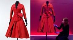 1955-Red-silk-grosgrain-cocktail-dress---Christian-Dior---V&-A-Museum
