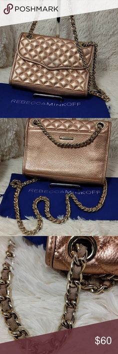 "Rebecca Minkoff Mini Quilted Affair in Rose Gold Preowned condition with signs of wear.  Leather needs conditioning on exterior and the leather thru the chain as well(I will do this once before the buyer receives it).  Interioris clean and no defects noted.  See photo 3 for the chain leather and pic 1 for exterior example.  Measurements:?8.5""L x 2.5""H x 6""W Rebecca Minkoff Bags Shoulder Bags"