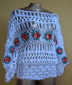 Beautiful crochet blouse with cleat and flowers - free step by step           -            Crochet/Knitting