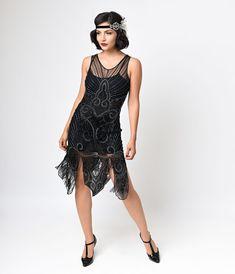 Preorder - Iconic by UV Black Bronze Beaded Mesh Atlantic Fringe Flapper Dress $258.00 AT vintagedancer.com