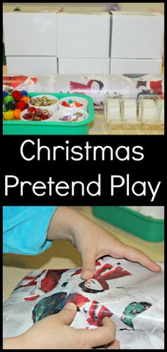 "Christmas Pretend Play - Wrapping Presents from www.fun-a-day.com.  Let the kiddos wrap and unwrap ""presents"" to their hearts' content (and without getting into the real gifts)!  Lots of fun with this pretend play activity."