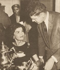 Though Jackie could not understand how her husband and his political rivals could simulatenously campaign against eachother and yet socialise as friends, she played her part as a senator's wife and diplomatically offers a political rival some tea.