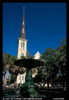 Fountain on Marion Square and church. Charleston, South Carolina, USA
