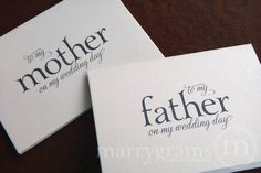Wedding Card to Your Mother or Father -- Parents of the Bride or Groom Cards.  via Etsy.