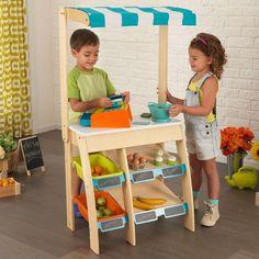 Juguete imitando puesto de mercado o supermercado para niños y niñas. Fabricado en madera de la marca KidKraft ideal para decoración de habitaciones infantiles
