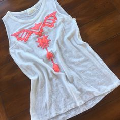 ZARA top with coral tribal pattern. Small Zara top with tribal influence in a coral color. So cute and barely worn maybe 3x. Size small. Zara Tops