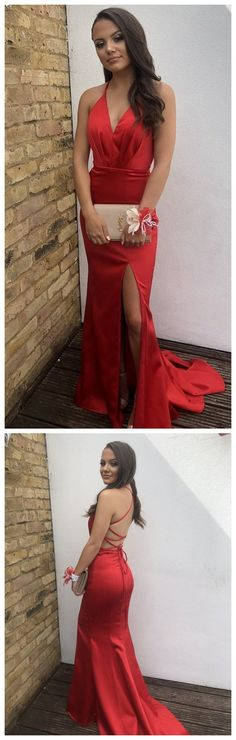 Elegant V Neck Backless Mermaid Pleated Red Prom Dresses with Slit, Halter Neck Red Mermaid Formal Dresses, Red Evening Dresses Backless Prom Dresses, A Line Prom Dresses, Formal Dresses, Party Dresses, Evening Party Gowns, Evening Dresses, Slit Dress, Lace Dress, Red Mermaid Dress