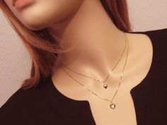 14kt Solid Gold Heart Necklace Mini Puffed by PowersThatBead