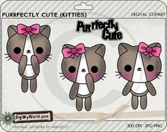 Kawaii Kittens, kitty , cat, cats kitties colored Clipart and graphics on Etsy, $2.50