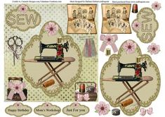 Vintage Sewing Room Card Topper Decoupage on Craftsuprint - Add To Basket!