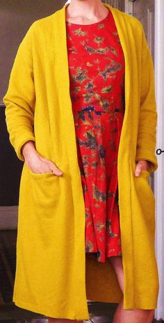 Esme cardigan from Named Clothing in mustard boiled wool (worn over my Gather Mortmain) Named Clothing, Mustard, Sari, Wool, Sewing, Clothes, Fashion, Saree, Outfits