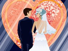 Bride And Groom  Front Of Symbol Of Love