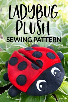 Learn to make a cute ladybug stuffed animal with my free sewing pattern and tutorial. This sewing project is a great project for young sewists. Animal Sewing Patterns, Sewing Patterns For Kids, Easy Sewing Projects, Stuffed Animal Patterns, Sewing For Kids, Diy Craft Projects, Free Sewing, Pattern Sewing, Sewing Ideas