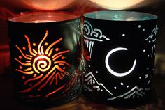 Sun & Moon - candle holder - Recycled tin can freehand torch cut metalwork from New Mexico.