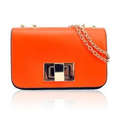 Vintage Stylish Casual Women's Shoulder Bag With Candy Color Metal Chain and Twist-Lock Closure Design