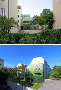 House Siding Idea - Multiple Shades Of Green Shingles Cover This Building In Berlin German Architecture, Amazing Architecture, Contemporary Architecture, Architecture Design, House Siding, Small Buildings, Exterior Siding, Berlin, Green Building