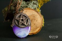 Purple stone necklace. Pentagram jewelry. Pagan pendant. Wicca jewelry. Goth necklace. Electroformed. Electroplated. - pinned by pin4etsy.com