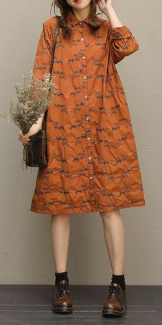 9384c35a463 Orange Embroidery Loose Shirt Dresses For Women QT785 Casual Fashion  Trends