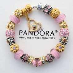 Authentic Pandora Bracelet w Pink Murano Live Love Laugh Gold Euro Charm Beads | eBay