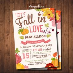 Fall Baby Shower Invitation. Little Pumpkin Baby Shower. DIY card. Digital Printable card by AngelinaWorks on Etsy