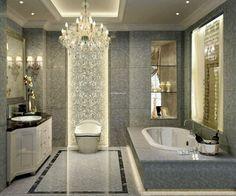 Bathroom, Terrific Images Of Bathrooms Ideas Plus Luxury Bathrooms And Bathroom Design Ideas With Granite Bathtub Plus White Toilet And Retro Vanity Also Elegant Glass Pendant Lamp Plus Storage Shelves: Best Stunning and Cozy Bathroom Ideas