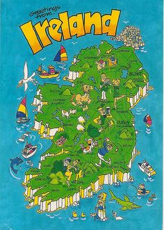 "Cartoon rendering of a ""map"" of Ireland.  Looks perfect for a touristy post card. :)"