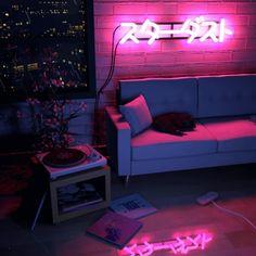 aesthetic neon lights bedroom rooms