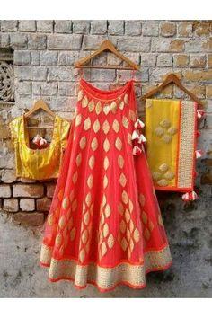 Designer Orange N Yellow Net Heavy Embroidered Lehenga Choli Set #womensfashion #lehengacholiset #latestlehenga
