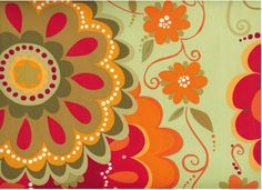 Valorie Wells floral-Orange flowers on green Floral Fabric, Fabric Flowers, Rowan, Orange Color Schemes, Amy Butler Fabric, Moroccan Theme, Painting Inspiration, Colour Inspiration, Orange Flowers