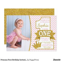 Ballerina Birthday Invitation with Free Thank You Card - Pink and Gold First Birthday Invitations - Ballet Birthday Invitation Princess First Birthday, Gold First Birthday, Ballerina Birthday, Birthday Tutu, First Birthday Parties, First Birthdays, Birthday Ideas, Princess Party, Birthday Gifts