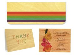 rainbow wedding stationery printed on FSC-certified wood