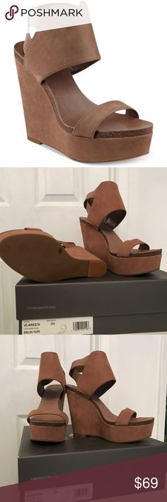 """💥💥💥BRAND NEW VINCE CAMUTO WEDGES Brand new with box Vince Camuto """"VC- KRESTA"""" English taupe size 9. Very comfortable still sold in stores goes with everything because of the color Vince Camuto Shoes Wedges"""