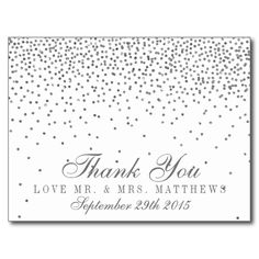 Vintage Glam Silver Confetti Wedding Thank You
