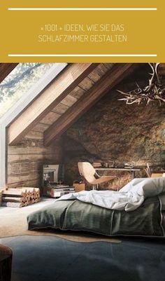 bett unter dachschräge, kronelcuhter aus geweih, schwarze keramikfliesen, einrichtungsideen #einrichtungsideen schlafzimmer grau ▷ 1001 + Ideen, wie Sie das Schlafzimmer gestalten