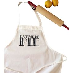 The Coin Laundry Eat More Pie Kitchen Apron ($24) ❤ liked on Polyvore featuring home, kitchen & dining, aprons, polka dot apron and cotton apron