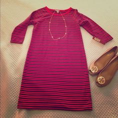 NWT Red/Navy Stripe Leisure Dress Brand new // comfy cotton poly blend // no lining // 3/4 sleeve // 39 inches in length Merona Dresses