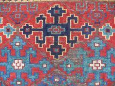 Eastanatolian Kurdish rug fragment, 19th c., 120 x 120 cm, 4' x 4'