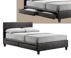 4 draw storage double leather bed + memory foam mattress, - 1