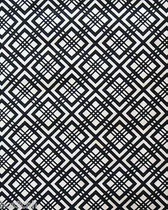 """UNUSED 50"""" LONG INDIGO GEOMETRIC HISHI VINTAGE JAPANESE COTTON KIMONO FABRIC #9"""