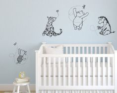 Classic Winnie the Pooh, Tigger, Eeyore, and Piglet graphics vinyl wall decal