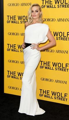 Wearing an Armani Privè gown and Jacob & Co. jewels at The Wolf of Wall Street New York premiere.